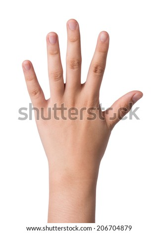 Female hand  isolated on white ,number five sign