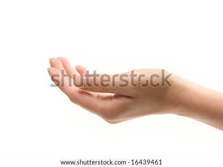 Female hand isolated over white background. Close-up photo.