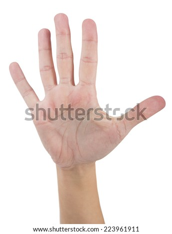 Female hand makes number five isolated on white background. - stock photo