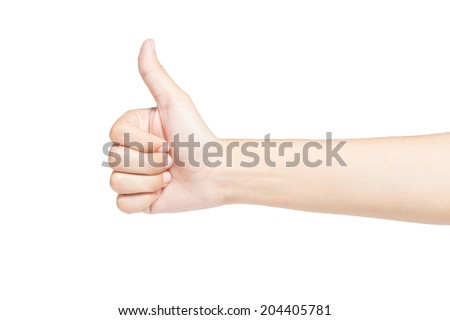 Female hand making thumbs up sign for commended success, Isolated on white background.