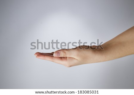 Female hand on a gray background. Empty outstretched palm. Copy space - stock photo