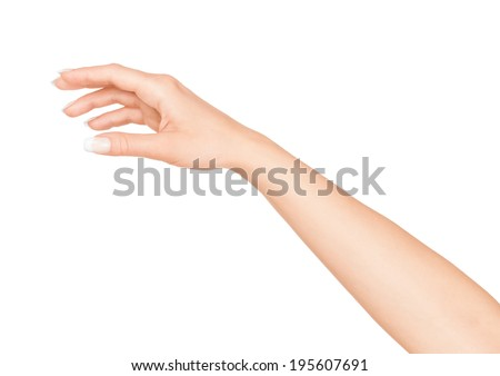 female hand on an isolated white background - stock photo