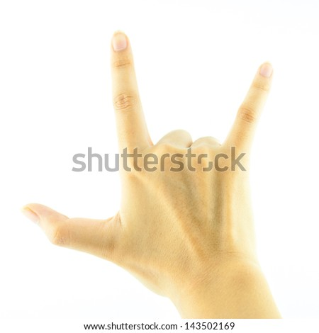 female hand on the white background - Empty open woman hand on white background