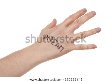 female hand on white isolated background with written message