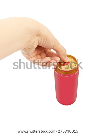 Female hand opening a can of beer isolated on white background - stock photo