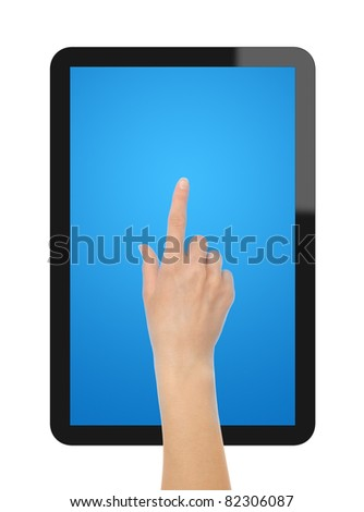Female hand point on blank tablet pc. Include clipping path for hand, screen and tablet. Isolated on white. - stock photo