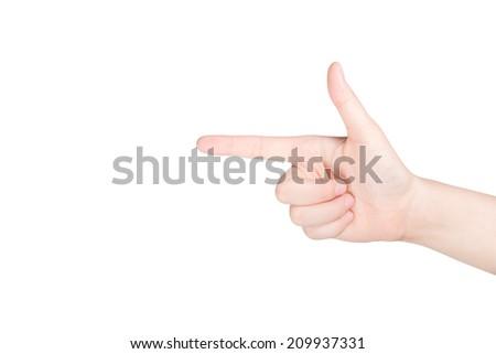 Female hand pointing finger to upward isolated on white background.   - stock photo
