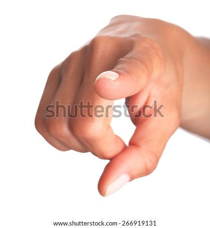 Female Hand Pointing Selection - stock photo