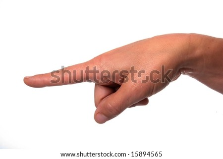 Female hand pointing with index finger against a white background