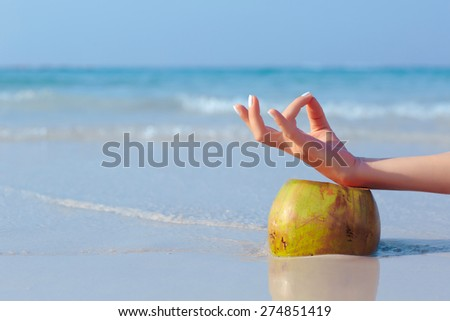 Female hand propped on coconut on blue sea background  - stock photo