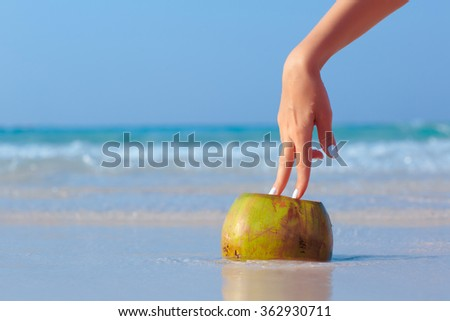 Female hand propped on coconut on blue sea background