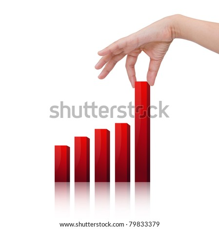 Female hand pulling up a bar from a graph - stock photo