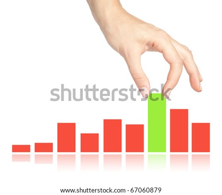 Female hand pulling up a bar from a graph on white background - stock photo