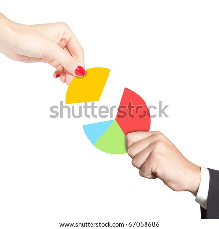 Female hand putting the last piece of a pie chart on place (partnership, teamwork, investment and other financial concepts) - stock photo