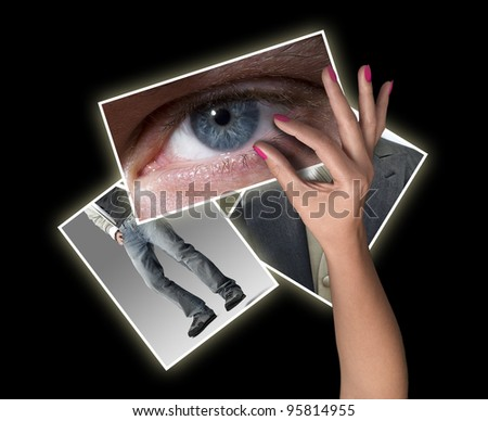 Female hand reaching images streaming - stock photo