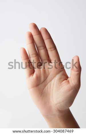 female hand show five fingers Isolated on white background - stock photo
