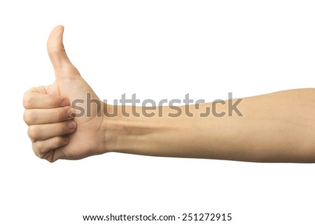 Female hand showing a thumb up gesture. Isolated on white background. Like. Alpha.