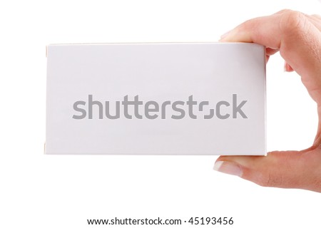 Female hand showing a white box isolated against a white background - stock photo