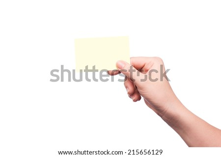 Female hand showing blank name badge/calling card; copy space, isolated on white  - stock photo