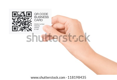 Female hand showing business card with QR code information. Isolated on white. - stock photo