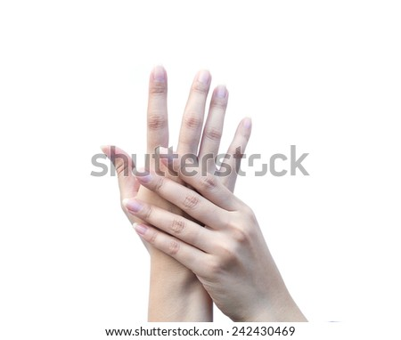 Female hand showing empty space for your choice on white background - stock photo