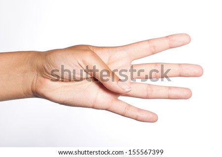 female hand showing four fingers