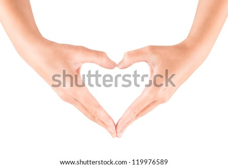 Female hand showing heart shape gesture. Isolated on white. - stock photo