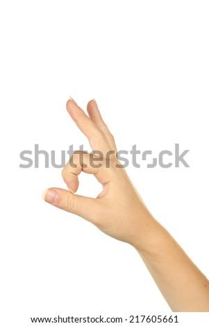 Female hand showing OK - stock photo