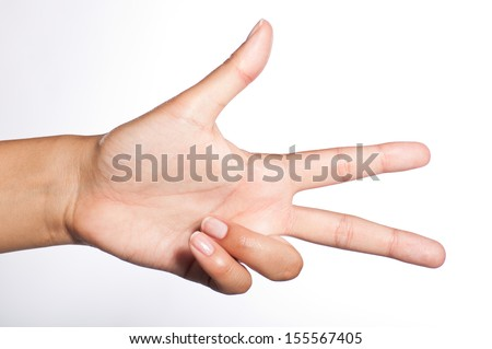 female hand showing three fingers