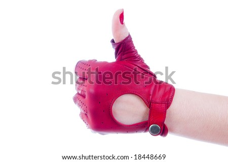 Female hand showing thumbs up, isolated on white background - stock photo
