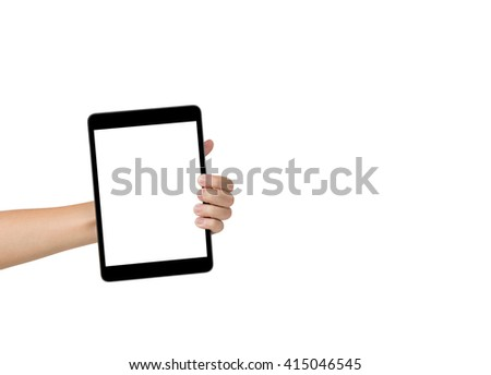 Female hand shows computer tablet blank frame, isolated on background - stock photo