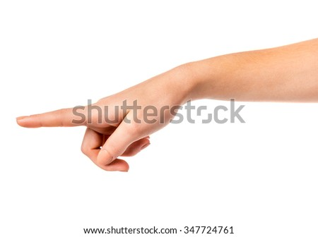 Female hand sign isolated on a white background