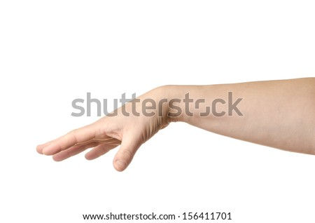 Female hand throwing away something isolated on white background - stock photo