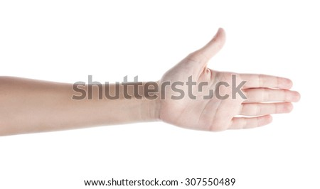 Female hand to create a collage, isolated on white. Palm. - stock photo