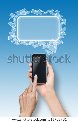 female hand touch screen smartphone with icons over blue background. - stock photo