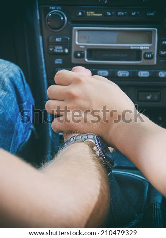 Female hand touches the male hand. - stock photo