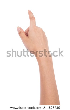 female hand touching on a white isolated background.
