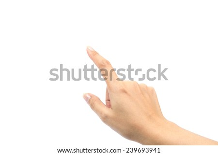female hand touching or pointing to something on white background - stock photo