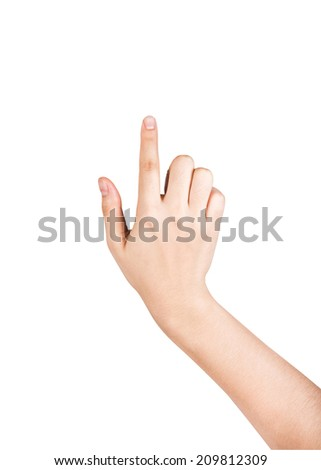 female hand touching screen isolated on white background.  - stock photo