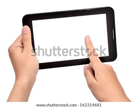 female hand using touch tablet, isolated on white background