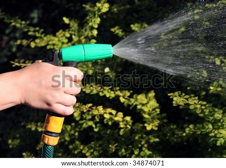 female hand watering the plants on   garden - stock photo