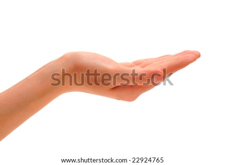 Female hand which is located on a white background.