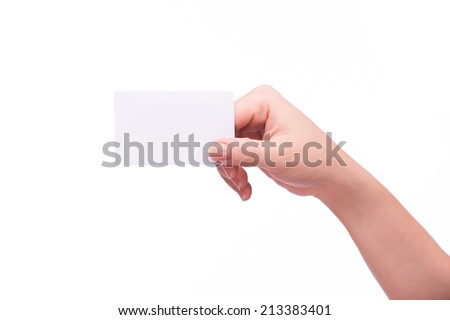 Female hand with a blank card isolated on white - stock photo