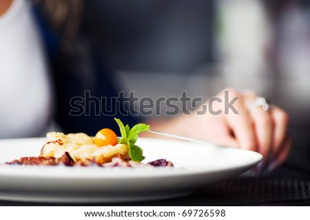 Female hand with a dinner - stock photo