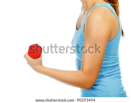 Female hand with a red barbell, isolated on white