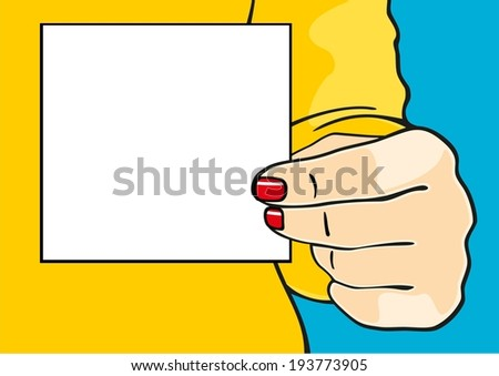 Female hand with a sheet of paper (raster version) - stock photo