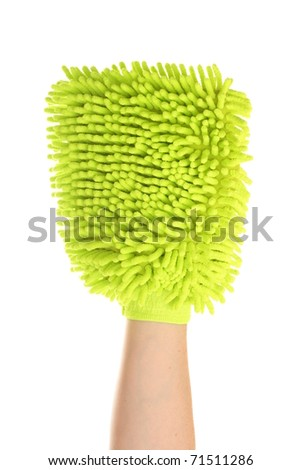 Female hand with a sponge mitt isolated on a white background - stock photo