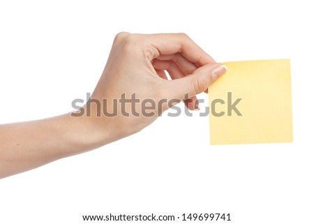 Female hand with a sticky note, white background