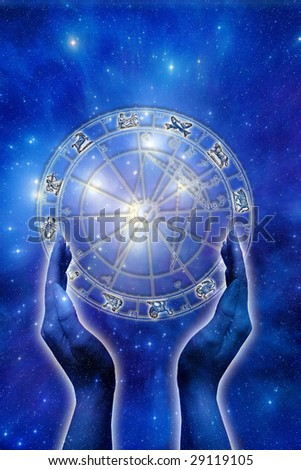 female hand with astrological horoscope over starry background