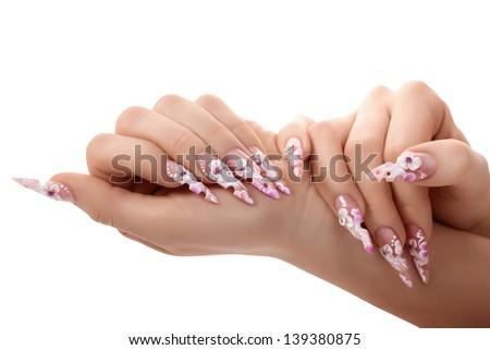 Female hand with beautiful fingernails.Isolated on white background. - stock photo